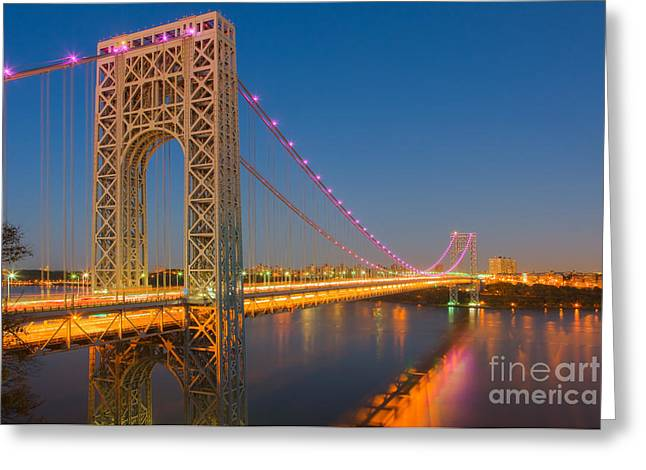 George Washington Bridge Twilight I Greeting Card by Clarence Holmes