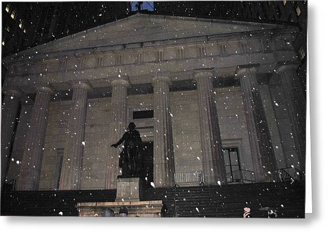Greeting Card featuring the photograph George Washington Federal Hall by Robert  Moss