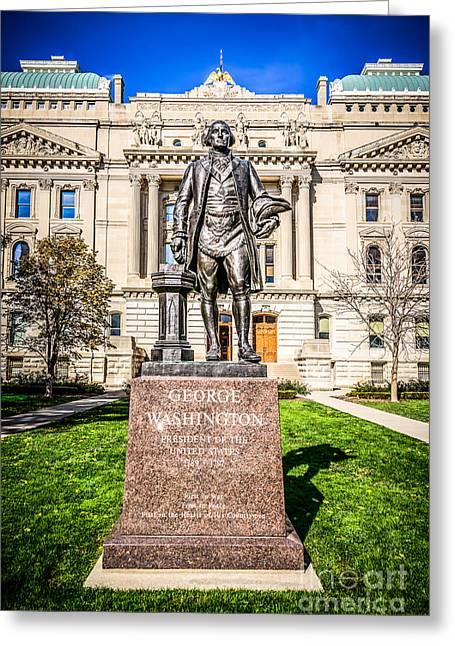 George Washington Statue Indianapolis Indiana Statehouse Greeting Card by Paul Velgos