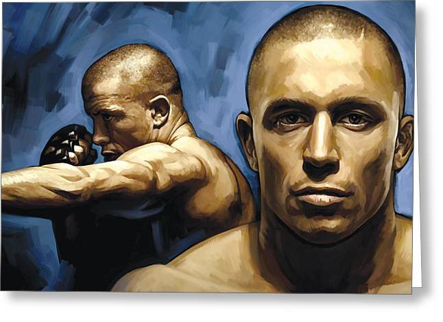 Georges St-pierre Artwork Greeting Card by Sheraz A