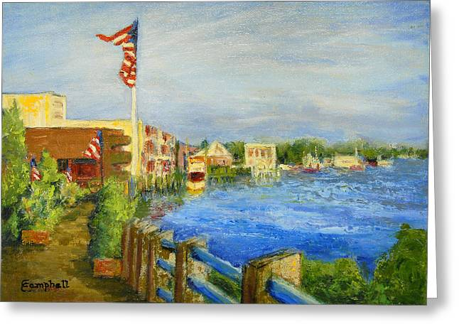 Georgetown Harbor Greeting Card by Cecelia Campbell