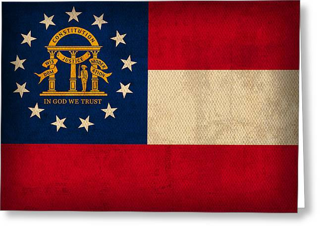 Georgia State Flag Art On Worn Canvas Greeting Card by Design Turnpike