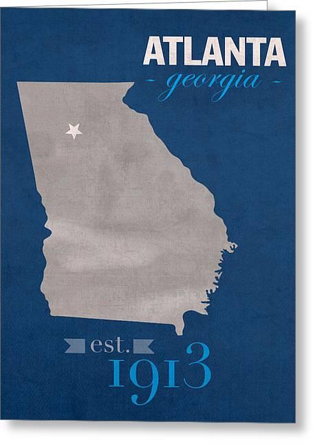 Georgia State University Panthers Atlanta College Town State Map Poster Series No 042 Greeting Card