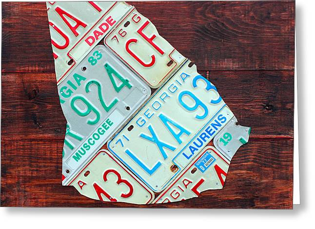 Georgia The Peach State License Plate Map On Fruitwood Greeting Card