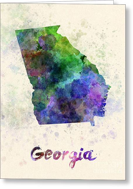 Georgia Us State In Watercolor Greeting Card by Pablo Romero