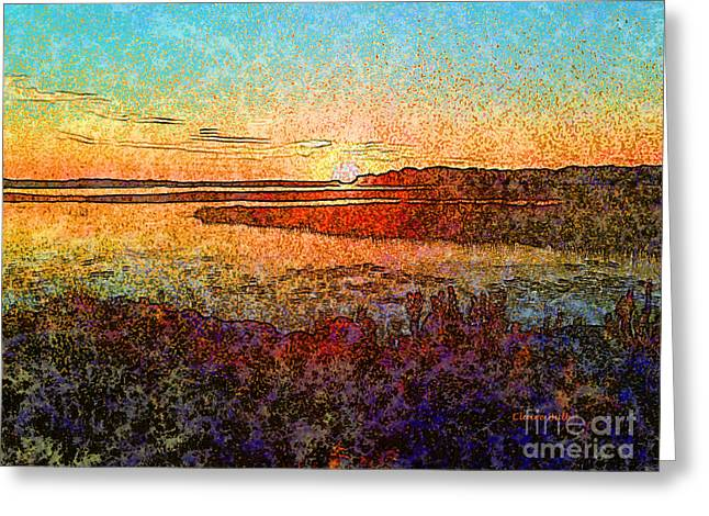 Georgian Bay Sunset Greeting Card by Claire Bull