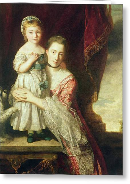 Georgiana, Countess Spencer With Lady Georgiana Spencer, 1759-61 Oil On Canvas Greeting Card by Sir Joshua Reynolds