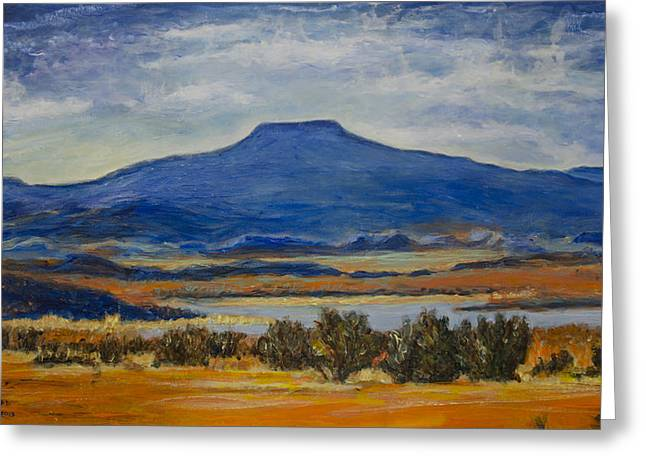 Greeting Card featuring the painting Georgia's Mountain by Ron Richard Baviello