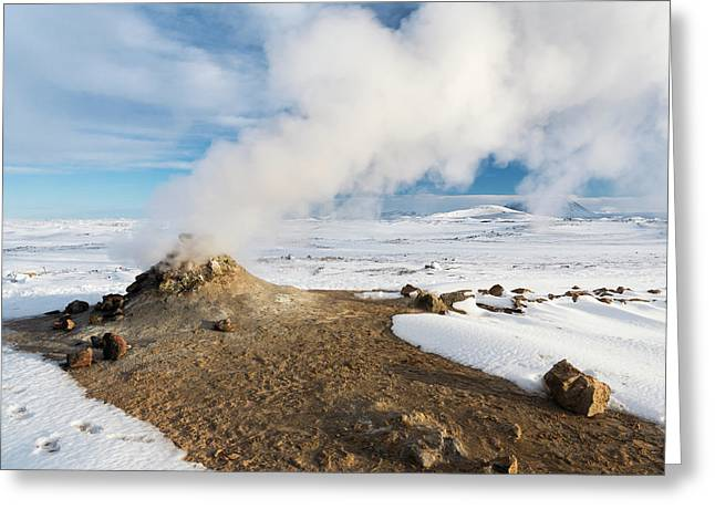 Geothermal Area Hverarond With Mudpots Greeting Card by Martin Zwick
