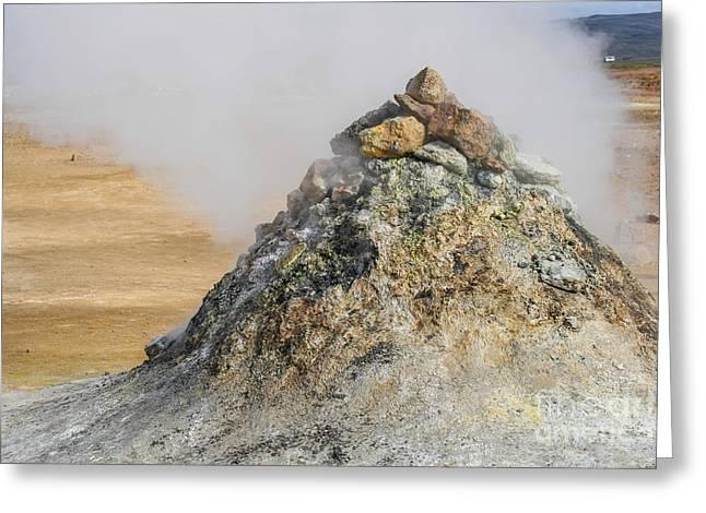 Geothermal Pile Of Sulphuric Rock  Greeting Card
