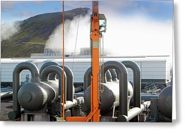 Geothermal Power Station Greeting Card by Tony Craddock