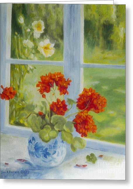 Geranium Morning Light Greeting Card
