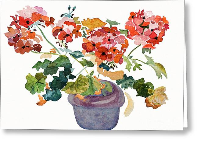 Geranium Watercolour Greeting Card by Barbara McMahon