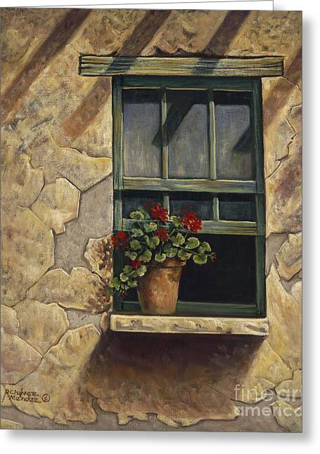 Geraniums And Shadows Greeting Card by Ricardo Chavez-Mendez
