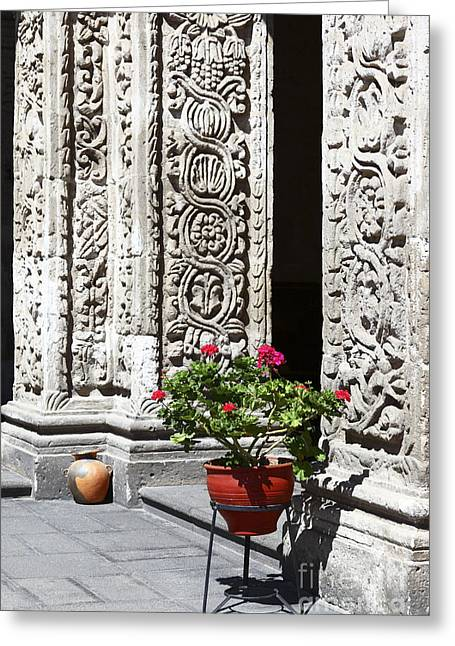 Geraniums And Stone Carvings Greeting Card