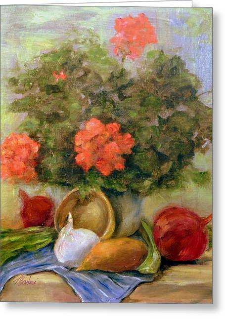 Geraniums And Veggies Greeting Card