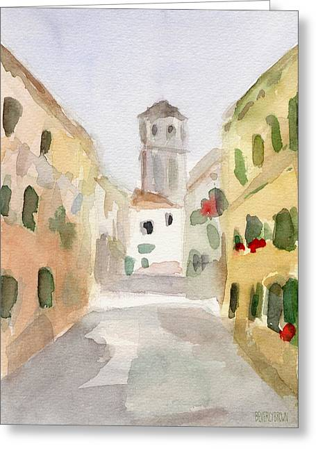 Geraniums Cannaregio Watercolor Painting Of Venice Italy Greeting Card by Beverly Brown
