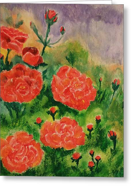 Greeting Card featuring the painting Geraniums by Christy Saunders Church