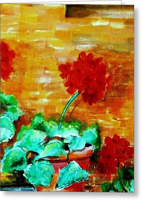 Geraniums   Greeting Card by Eric  Schiabor