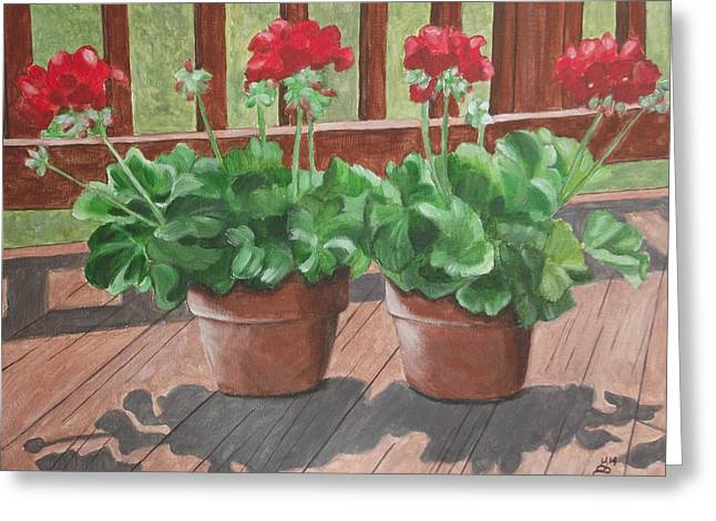 Geraniums For My Deck Greeting Card by Kim Selig