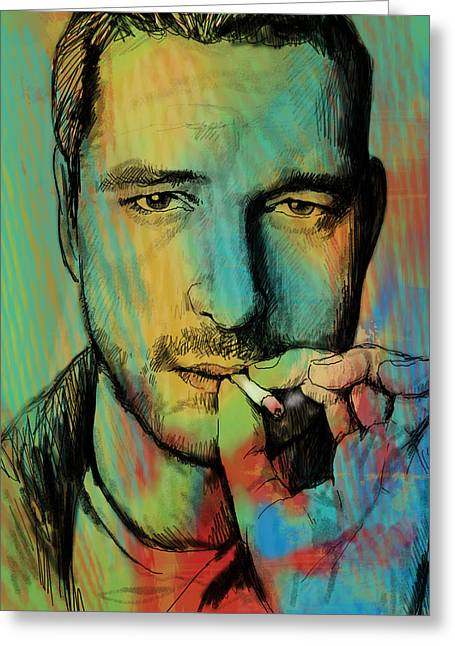 Gerard Butler - Stylised Pop Art Drawing Sketch Poster Greeting Card