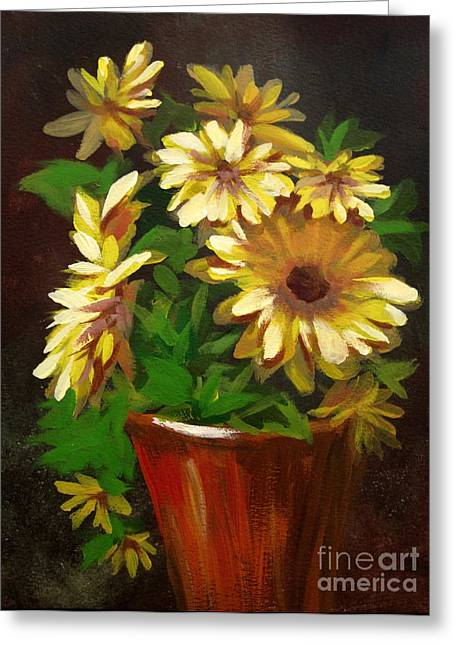Greeting Card featuring the painting Gerber Daisies 3 by Carol Hart