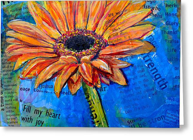 Greeting Card featuring the painting Gerbera Daisy Love by Lisa Fiedler Jaworski