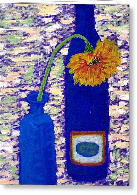Greeting Card featuring the painting Gerbera And Zinfandel by Brenda Pressnall