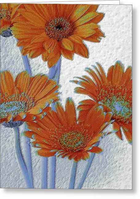 Gerbera Daisies Pop Art In Orange And Blue Greeting Card by Ben and Raisa Gertsberg