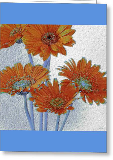Gerbera Daisies Pop Art In Orange And Blue Greeting Card