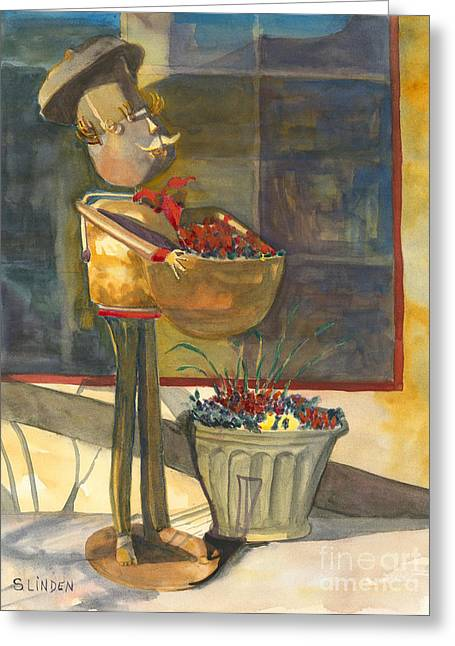 Greeting Card featuring the painting Gere-a-delis Brass Chef by Sandy Linden