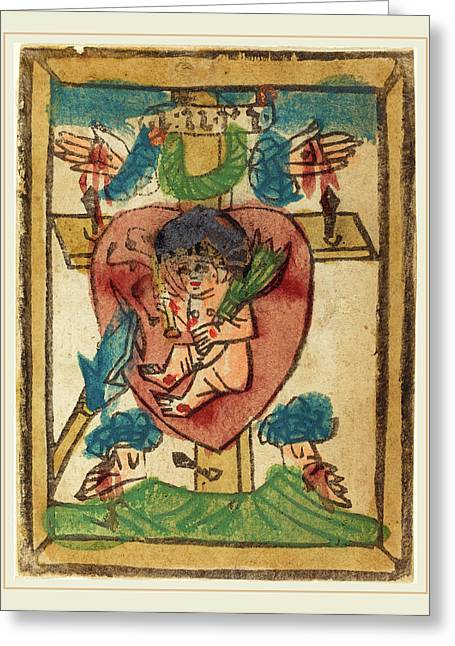 German 15th Century, Christ Child In The Sacred Heart Greeting Card by Litz Collection
