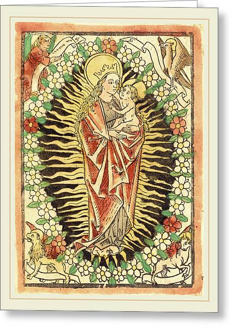 German 15th Century, Madonna And Child In A Rosary Greeting Card