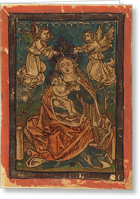 German 15th Century, Madonna And Child Seated On A Grassy Greeting Card