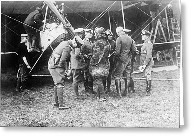 German Aeroplane And Officers Greeting Card