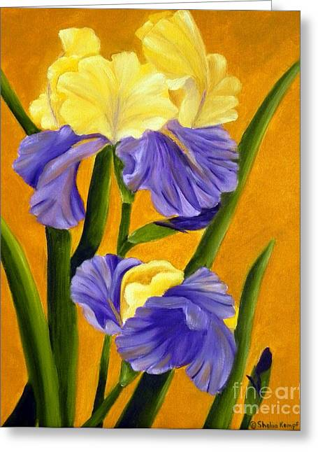 Greeting Card featuring the painting German Bearded Iris  by Shelia Kempf