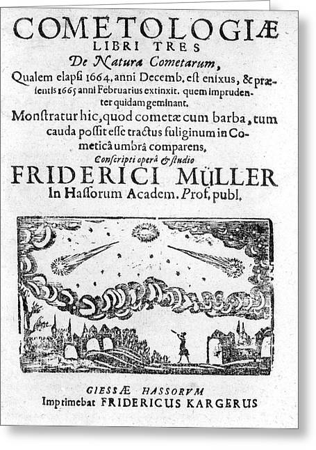 German Book On The Comet Of 1664-5 Greeting Card by Royal Astronomical Society