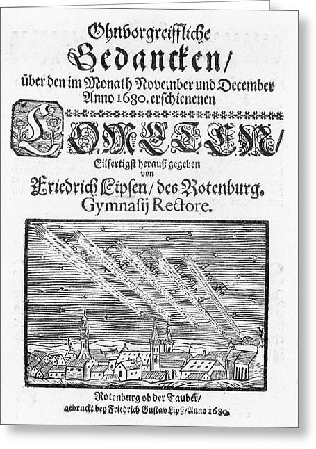 German Book On The Comet Of 1680 Greeting Card by Royal Astronomical Society