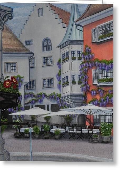 German Cafe Greeting Card by J Barth