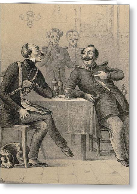 German Military Drinking A Glass Of Wine Greeting Card by German School