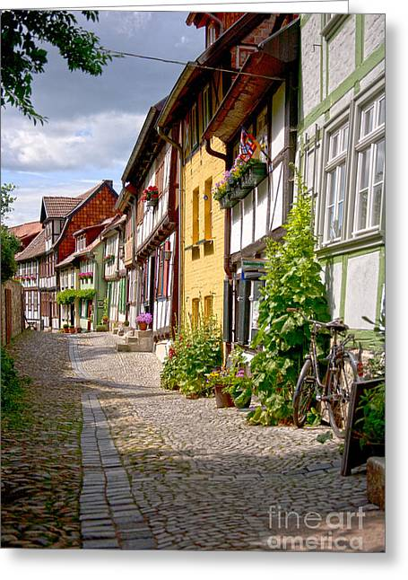 German Old Village Quedlinburg Greeting Card by Heiko Koehrer-Wagner