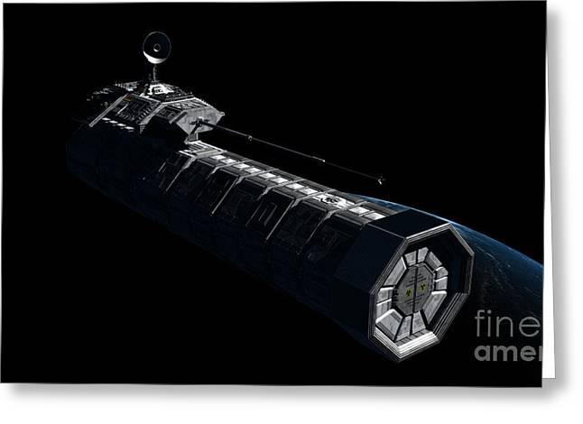 German Orbital Weapons Platform Greeting Card by Rhys Taylor
