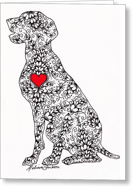 Greeting Card featuring the drawing German Pointer by Melissa Sherbon
