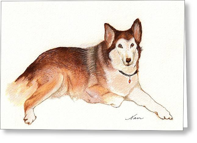 Greeting Card featuring the painting German Shepherd Dog by Nan Wright