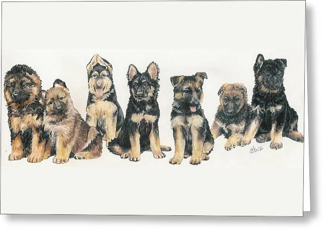 German Shepherd Puppies Greeting Card by Barbara Keith