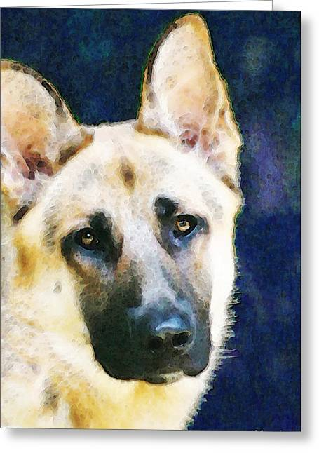 German Shepherd - Soul Greeting Card by Sharon Cummings