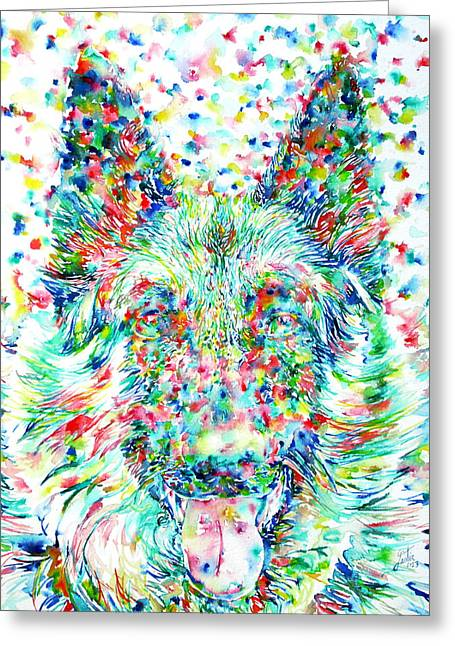 German Shepherd.1 - Watercolor Portrait Greeting Card by Fabrizio Cassetta