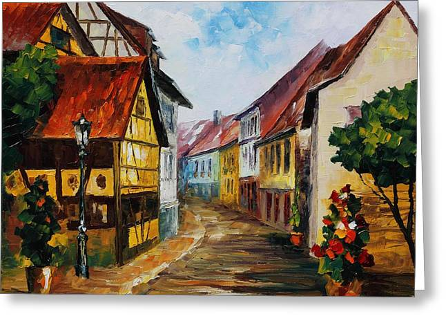 German Town - Palette Knife Oil Painting On Canvas By Leonid Afremov Greeting Card by Leonid Afremov