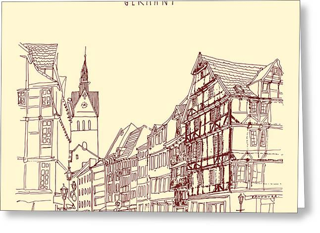 German Town, Walking Street, Timber Greeting Card