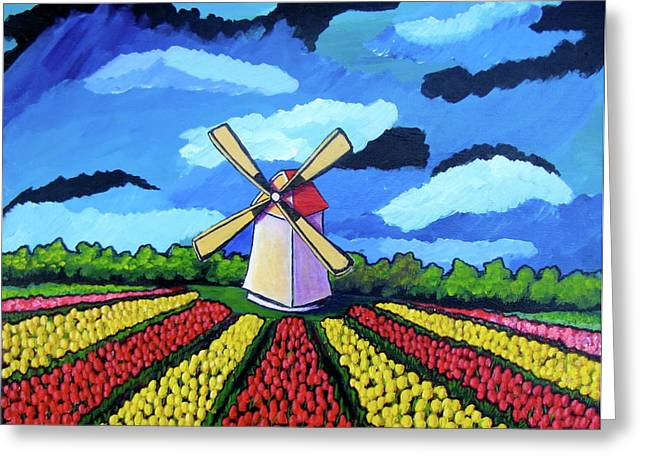 German Tulip Field Greeting Card by Sebastian Pierre